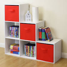 White 6 Cube Kids Toy Games Storage Unit Girls Boys Bedroom Shelves 3 Red Boxes Ebay In 2020 Shelves In Bedroom Kids Storage Units Kids Room Curtains
