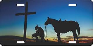 Cowboy Praying Cross 38 Horse Decal Car Truck Trailer Window Cowgirl Kneeling
