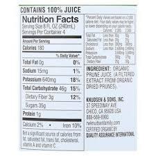 prune juice nutrition facts