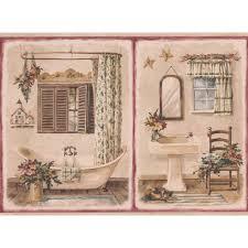 retro art vine bathroom in red