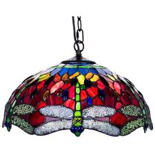 16 red dragonfly tiffany ceiling shade