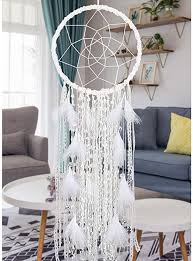 Amazon Com Alynsehom Extra Large Dream Catcher Kids Wall Hanging Decoration Handmade White Feather Boho Big Dreamcatchers With Bells Wedding Dream Catchers Bedroom Craft Ornament Gift Dia 12 Length 41 Home Kitchen