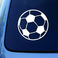 Amazon Com Soccer Ball Football Car Truck Notebook Vinyl Decal Sticker 5 5 White Automotive