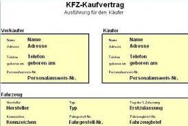 Kfz Auto Kaufvertrag Vorlage