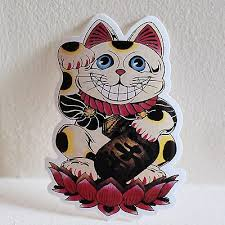 Fortune Lucky Beckoning Cat Maneki Neko 9x6cm Jdm Skateboard Decal Sticker 2138 3 79 Picclick