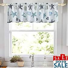 Keqiaosuocai Sea Aqua Bedroom Valance For 18 Inch Short Window Valance For Kids Room Kitchen Bathroom