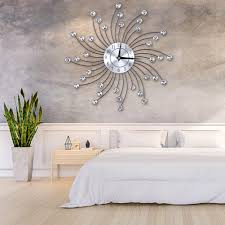 Faginey Sparkling Bling Metallic Silver Flower Shaped Wall Clock For Living Room Office Decorative Clock Wall Clock With Bling Diamond 33 33 5 5cm Walmart Com Walmart Com