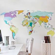Printed World Map Vinyl Wall Sticker Decal Graphic For Home And Office Walls Vinyl Impression