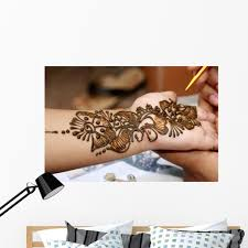 Applying Henna Hand Wall Mural By Wallmonkeys Peel And Stick Graphic 48 In W X 32 In H Wm188291 Walmart Com Walmart Com