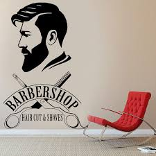 Barbershop Logo Vinyl Sticker Barber Shop Window Decal Hair Cut And Shaves Wall Art Mural Hair Salon Decor Vinyl Wall Art Mf35 Wall Stickers Aliexpress