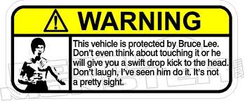 Bruce Lee Warning Decal Sticker Decal Max