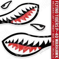 Flying Tigers Shark Mouth Vinyl Decal Stickers Version 1 Vinyl Customs Design Print Shop