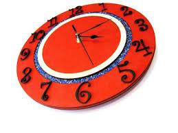 Modern Clock Wall Clock Kids Room Orange Sky Blue Round Large Etsy