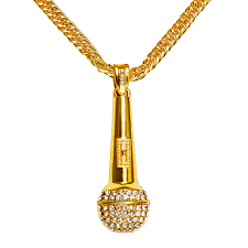 microphone pendant hip hop jewelry gold