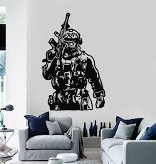 Vinyl Wall Decal Military Soldier Gun Warrior Boys Room Stickers Mural Wallstickers4you