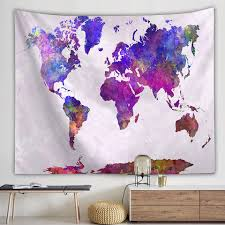 Simple Multicolour World Map Digital Printing Polyester Tapestry Kids Bedroom Home Decorations For Living Room Wall Art Decorative Tapestries Aliexpress