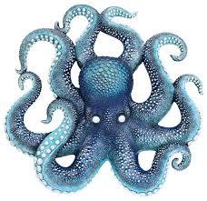 deadly blue octopus wall sculpture