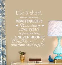 Love Wall Decal Life Is Short Break The Rules Forgive Quickly Kiss Slowly Home Vinyl Wall Lettering Words Decal
