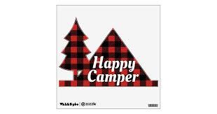 Rustic Happy Camper Buffalo Check Plaid Wall Decal Zazzle Com