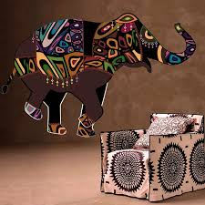 Shop Full Color India Elephant Ornament Patterns Full Color Wall Decal Sticker Sticker Decal Size 44x60 Frst On Sale Overstock 15061392