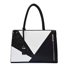 women s leather black and white purse
