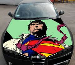 Superman Sketch Full Color Hood Graphics Vinyl Wrap Fit Any Car Ebay