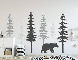 Amazon Com Tree Bear Wall Stickers Decals Large 6 Pine Tree Wall Decals With A Large Bear Decal From Surface Inspired 1081 Handmade