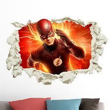 The Flash In Wall Crack Kids Boy Bedroom Decal Art Sticker Gift Superheroes Ebay