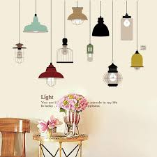 European Freehand Sketching Ceiling Lamp Wall Sticker Bedroom Living Room Background Backdrop Home Decoration Wall Decal Wish