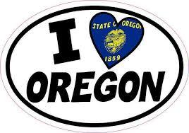 5inx3 5in Oval I Love Oregon Sticker Vinyl Car Flag Decal Luggage Stickers Stickertalk