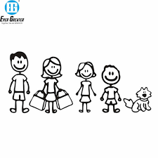 Cartoon Big Family Car Stickers Vinyl Car Styling For Dad Mom Kids Dog Cat Pattern Car Window Decal Black Silver Car Stickers Aliexpress