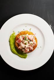 Panko-crusted tomato with lobster salad ...