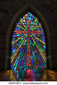church stained glass window stock image