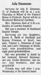 Obituary for Ada B. Simmons (Aged 77) - Newspapers.com