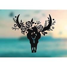 Amazon Com Ak Wall Art Bull Head Skull Horns Flowers Vinyl Decal Car Truck Laptop Select Size Automotive