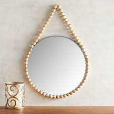 round wooden beads necklace wall mirror
