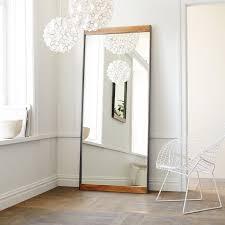 industrial metal wood floor mirror