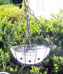 Shabby Chic Hanging Bird Bath Repurpose That Old Glass Bowl Add Few Colorful Marbles Set In Hanging Bask Diy Bird Bath Hanging Bird Bath Bird Bath Garden