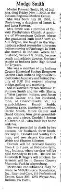 Evans - Madge Furman Smith - Aunt of Cynthia J. Sexton ...