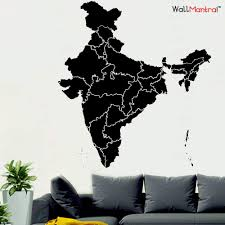 Buy India Map Self Adhesive Vinyl Wall Sticker Online In India Wallmantra