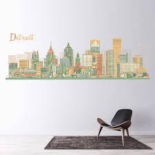 Detroit Skyline Michigan Usa City Wall Decal Sticker Ws 46667 Ebay