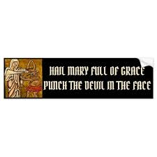 Blessed Virgin Mary Punching The Devil In The Face Bumper Sticker Zazzle Com
