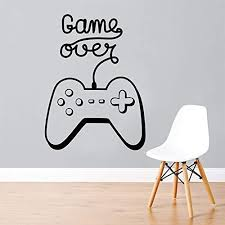 Amazon Com Xmksd Video Game Wall Decal Game Over Decals Gamer Sticker Playstation Vinyl Sticker Game Boy Room Decor Gamer Gift Removable 57 77cm Home Kitchen