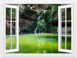 Amazon Com Creative Window Wall Sticker Wall Mural Green Lake With Small Waterfall In Butterfly Valley On Rhodes Island Self Adhesive Removable Wall Decal Posters Home Wall Art Decor For Living Room 36x48