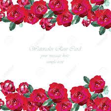 Acuarela Tarjeta De Rosas Rojas Frontera Floral De La Vendimia