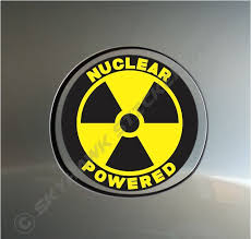 Nuclear Powered Funny Sticker Vinyl Decal Radiation Car Truck Motorcycle Macbook Funny Bumper Stickers Vinyl Bumper Stickers Vinyl Decals