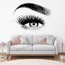 New Design Eye Eyelashes Wall Decal Sticker Lashes Eyebrows Brows Beauty Salon Quote Make Up Vinyl Girl Room Wall Stickers Lc138 Wall Decals Stickers Designer Wall Stickerswall Sticker Aliexpress