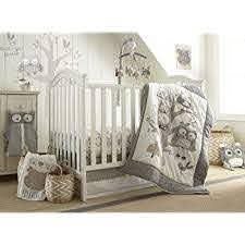Amazon Com Levtex Baby Night Owl Crib Bed Set Baby Nursery Set Grey Tan And Cream Owls In A Tree 5 Piece Set Includes Quilt Fitted Sheet