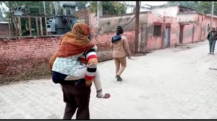 """Image result for lucknow man carries daughter who was raped"""""""