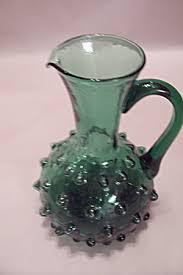 emerald green hobnail art glass pitcher